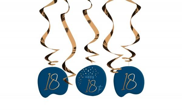 18. Geburtstag Hängedeko 5 Stück Elegant blue