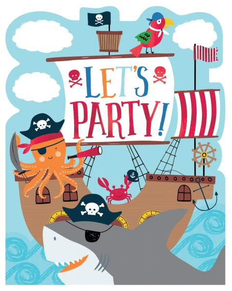 8 cartes d'invitation sea ahoy