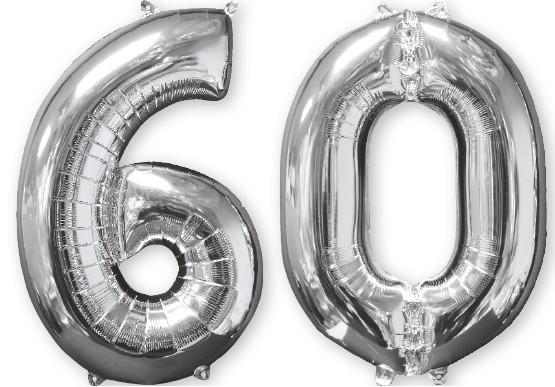 Ballon aluminium numéro 60 argent 66cm