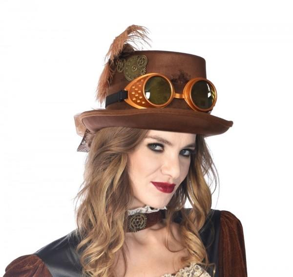 Chapeau haut de forme steampunk marron Mary
