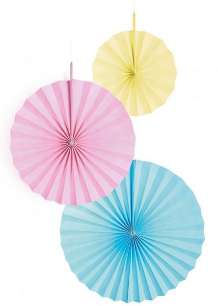3 Shiny Pastell Rainbow Papierrosetten
