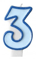 Zahlenkerze 3 blau 7cm
