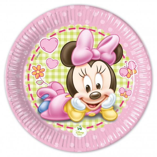 8 Minnie Mouse Babyparty Pappteller 20cm