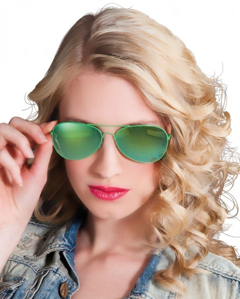 Verspiegelte Grüne Pilotenbrille