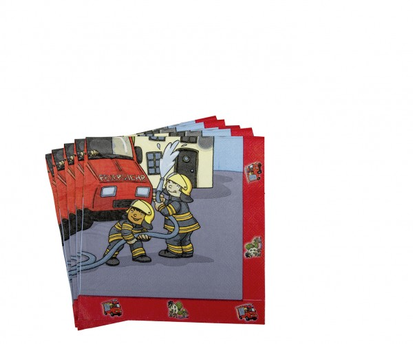 Feuerwehr Alarm Kindergeburtstag Serviette 33x33cm