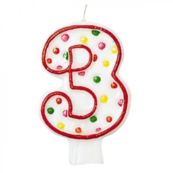 Red number 3 cake candle colored 7.6cm