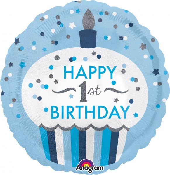 Folienballon Cupcake 1st Birthday Prince rund