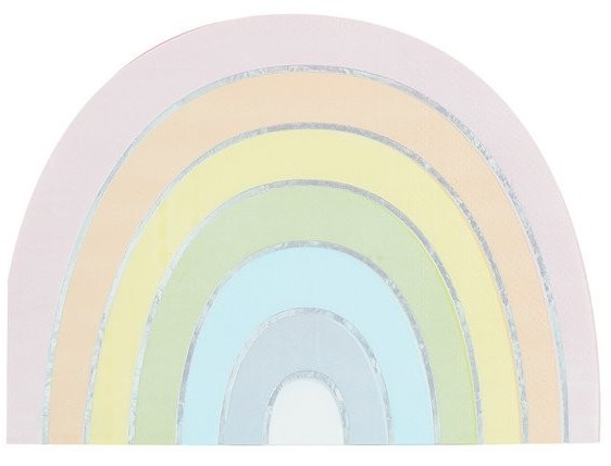 16 Pastell Regenbogen Servietten 33cm