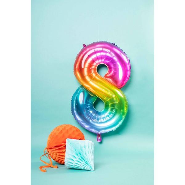 Number 8 Super Rainbow Foil Balloon 86cm