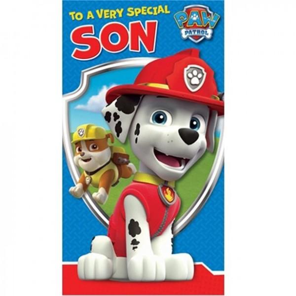 Paw Patrol Special Son Birthday Card