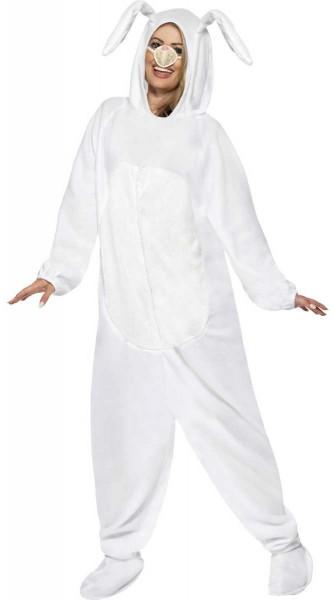 Weißes Ganzkörper Hasenkostüm Mit Nase 1