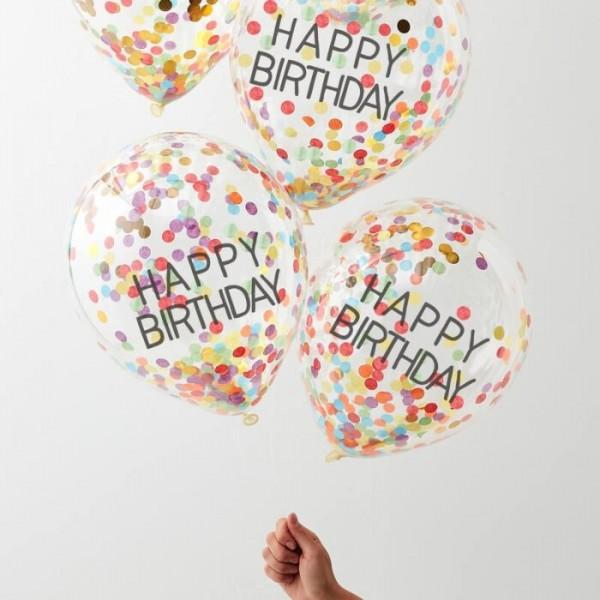 5 tęczowych balonów konfetti Urodziny 30 cm