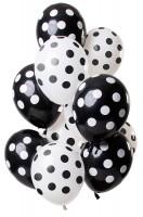 12 Latexballons Punkte schwarz weiß