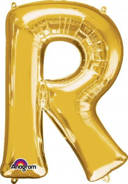 Letter foil balloon R gold 81cm