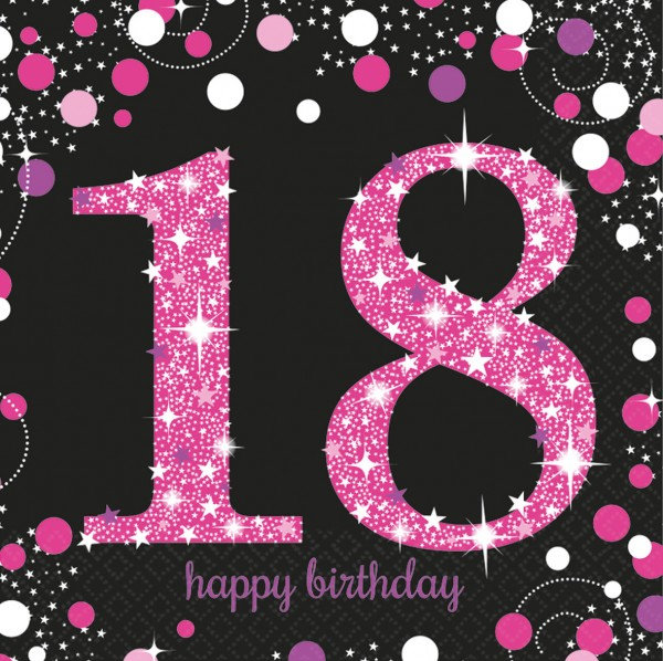18.Geburtstag Pink Sparkling Happy Birthday Serviette Be Glamorous 16er Set 1