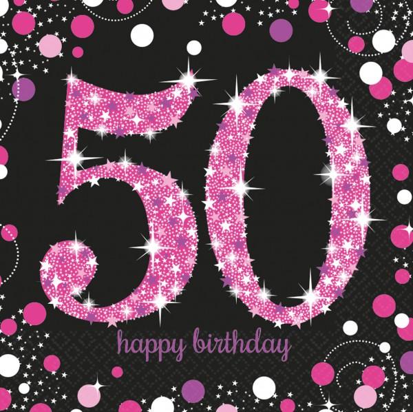 50.Geburtstag Pink Sparkling Happy Birthday Serviette Be Glamorous 16er Set 1