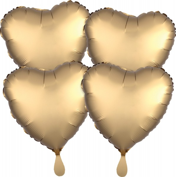 4 golden satin heart balloons
