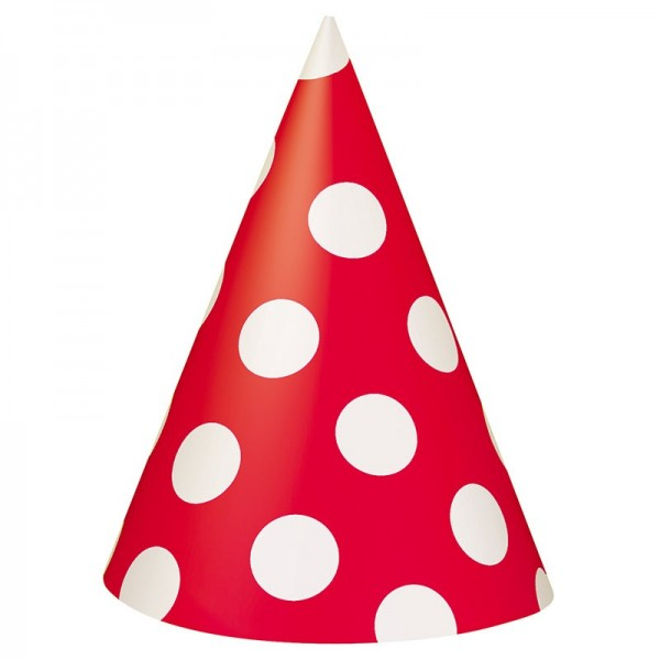 8 party hats Tiana red dotted 15cm
