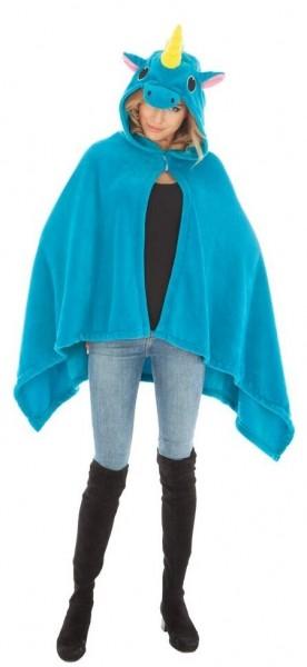 Einhorn Poncho für Damen blau