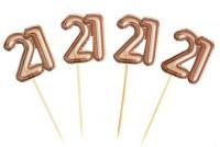 20 Cupcake Spieße 21.Geburtstag gold
