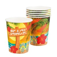 6 Hawaii Beachparty Pappbecher
