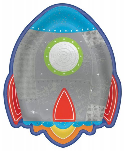 8 platos de cohetes de fiesta espacial 18cm