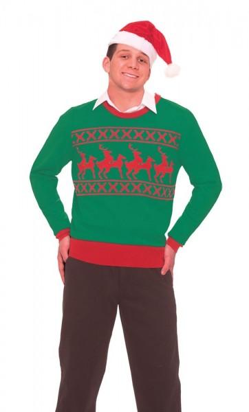 Świąteczny sweter z paradą reniferów