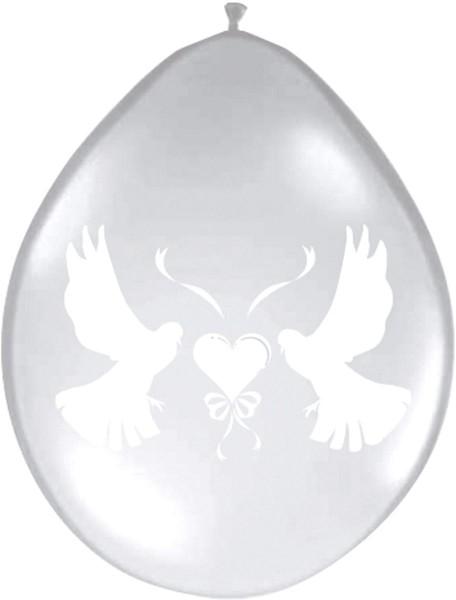 8 Ballons Hochzeitstauben transparent 1