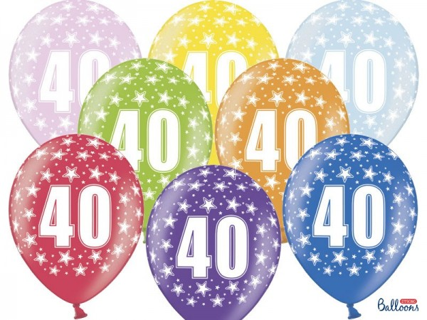 6 wild 40th birthday balloons 30cm
