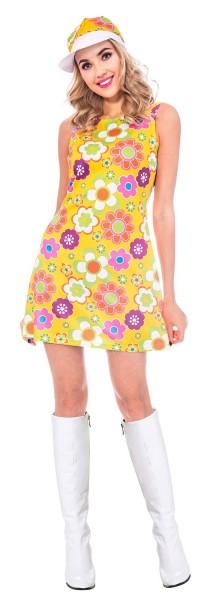 70er Jahre Flower Power Kleid für Damen
