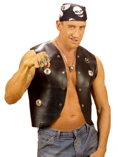 Rockstar rivet vest in leather look