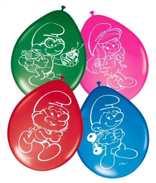 8 bunte Latexballons die Schlümpfe