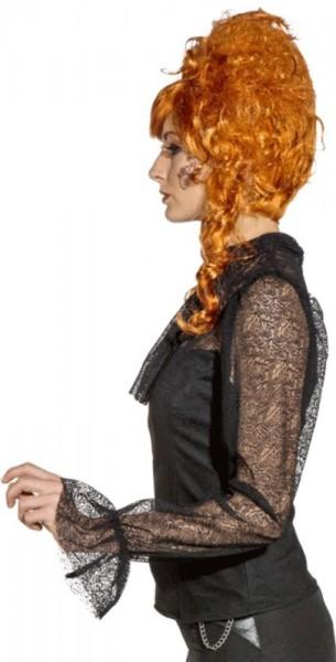 Czarna koronkowa bluzka w stylu wiktoriańskim
