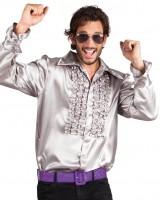 Shiny Rüschenhemd Silber
