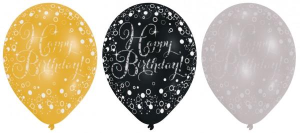 6 funkelnde Luftballons Happy Birthday