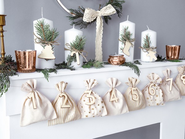 Calendario de adviento navideño natural