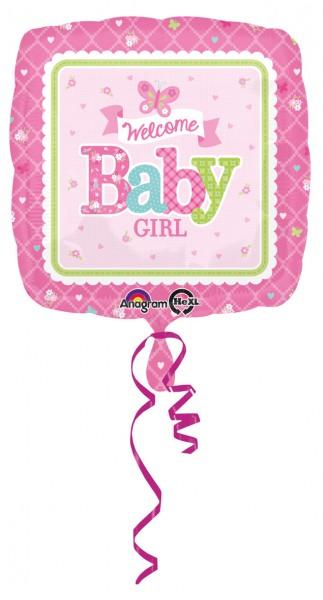 Ballon aluminium carré Welcome Baby Girl