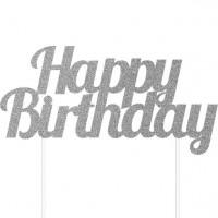 Glitzernde Happy Birthday Tortendeko silber