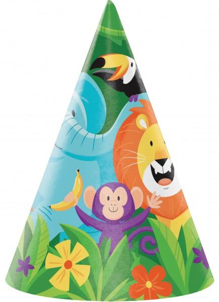 8 Safari Abenteuer Partyhüte 16cm