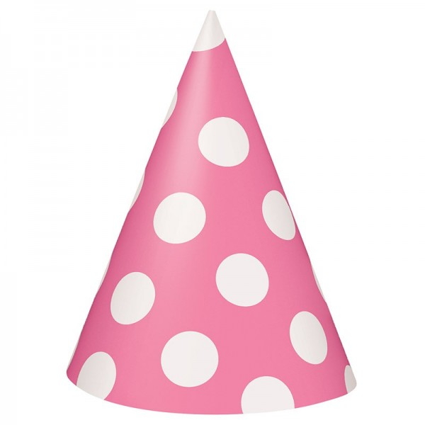 8 party hats Tiana pink dotted 15cm