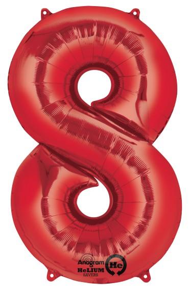 Zahlenballon 8 Rot 83cm