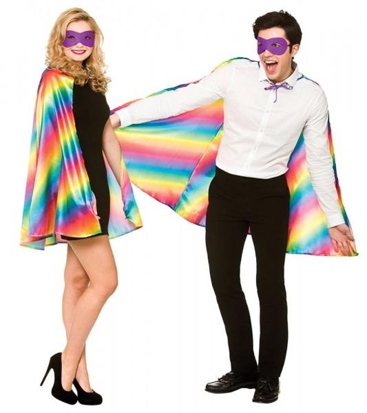 Regenbogen Superhelden Umhang mit Maske