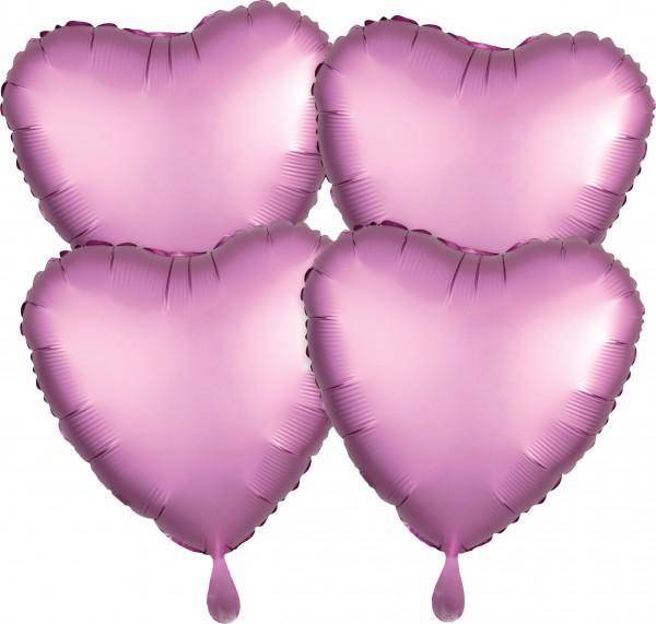 4 palloncini a cuore rosa in raso 43 cm