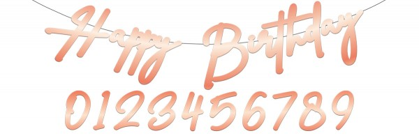 Guirnalda Feliz cumpleaños Elegante rubor rosa dorado 1m
