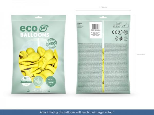 100 eco pastel balloons yellow 30cm