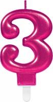 Zahlenkerze 3 Sparkling Pink
