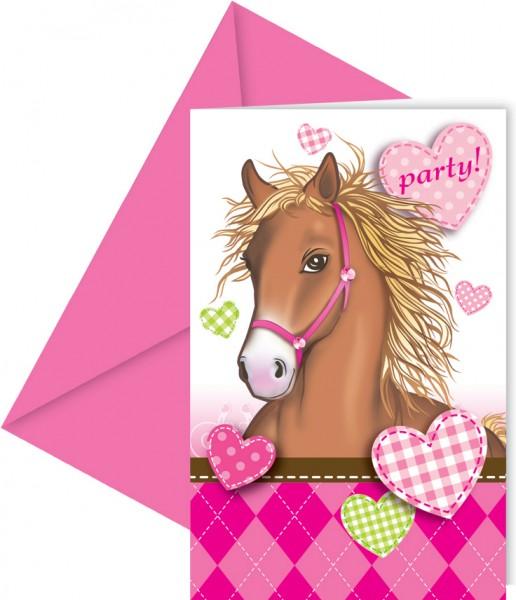 6 Pferdeliebe Party Einladungskarten 14 x 9cm