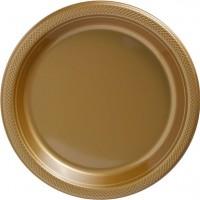 50 Große Hochwertige Kunststoffteller gold 26cm