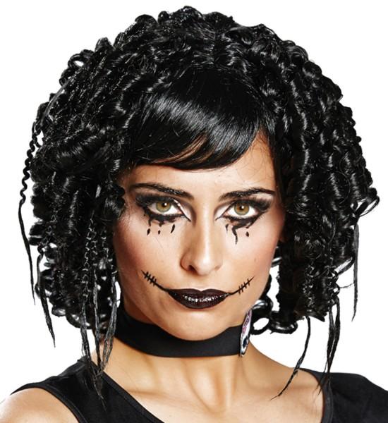 Perruque de dames de poupées d'horreur noires