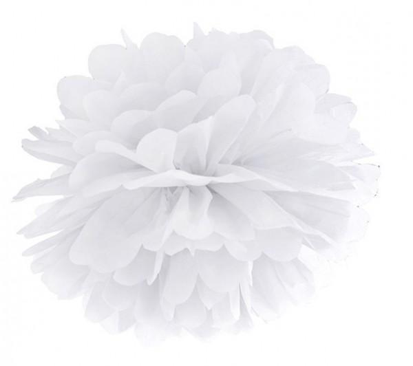 Pompon Romy blanc 35cm